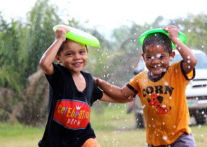 children in rain